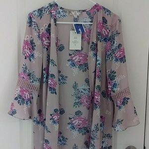Blush pink front open cover up/kimono